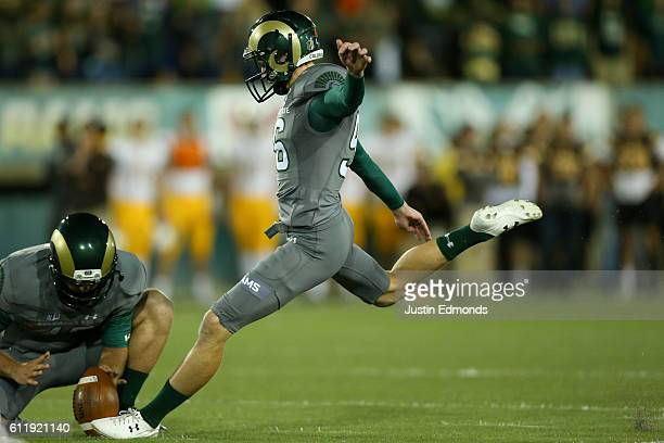 Place kicker Wyatt Bryan of the Colorado State Rams makes a field goal during the second quarter against the Wyoming Cowboys at Sonny Lubick Field at...