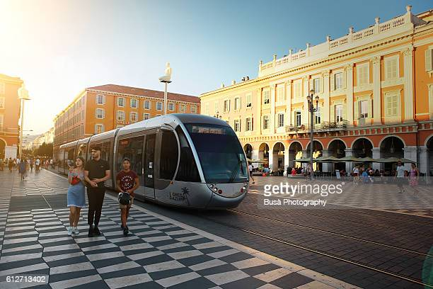 place massena in nice, france - limestone pavement stock pictures, royalty-free photos & images