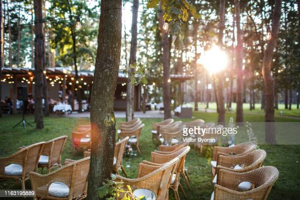 place of the wedding ceremony at sunset in the open air. - wedding background stock pictures, royalty-free photos & images