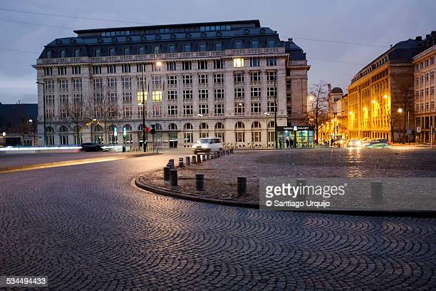 Place Poelaert in Brussels at night