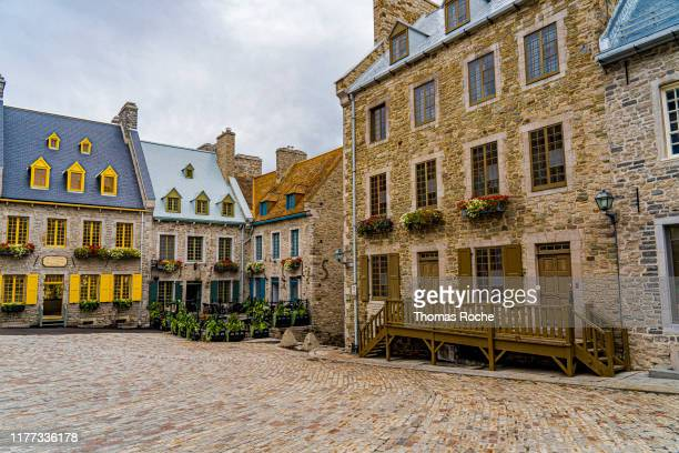 place royale in old town quebec city - quebec stock pictures, royalty-free photos & images