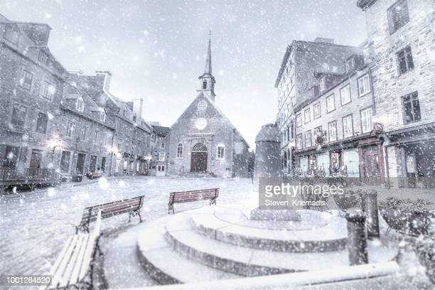 place royale - snow - old quebec stock pictures, royalty-free photos & images
