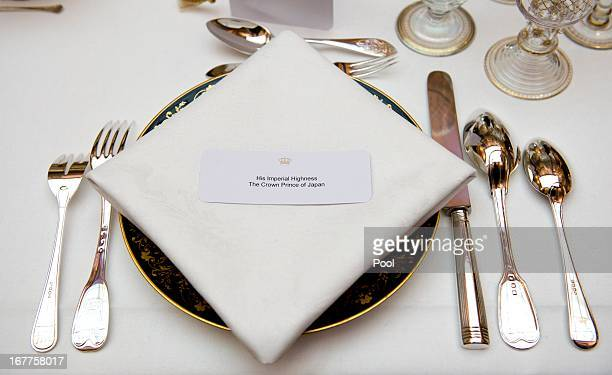 Place setting for His Imperial Highness the Crown Prince of Japan at a dinner hosted by Queen Beatrix of The Netherlands ahead of her abdication at...