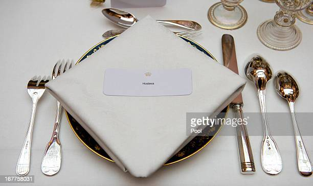 Place setting for the Hostess at a dinner hosted by Queen Beatrix of The Netherlands ahead of her abdication at Rijksmuseum on April 29 2013 in...