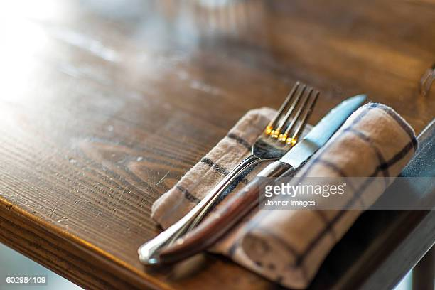 Place setting in restaurant