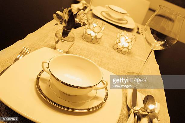 Place setting on a dining table
