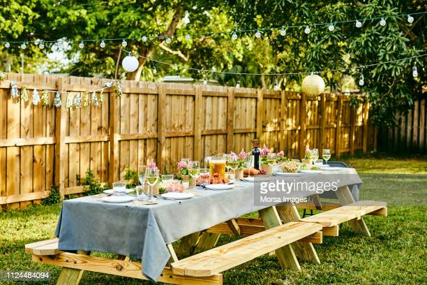 place setting on dining table in back yard - staccionata foto e immagini stock