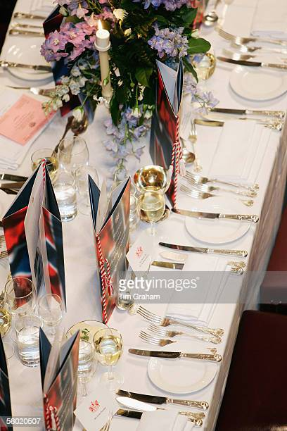 Place settings for a dinner at the Guildhall held in honour of the Norwegian Royal Family visit to Britain on October 26 2005 in London England