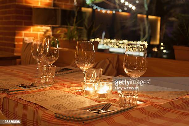 Place settings in restaurant