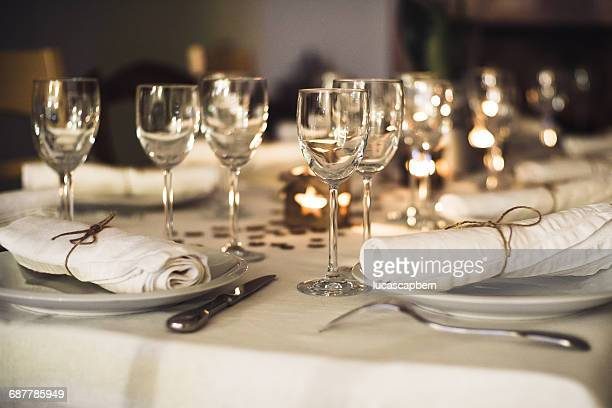 Place settings on a table