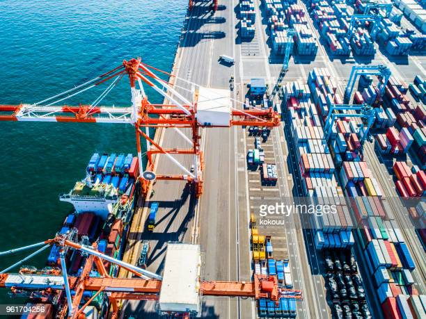 a place where lots of trade containers are lined up. - remote controlled stock photos and pictures