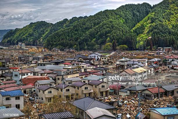 place where tsunami occurs - iwate prefecture stock pictures, royalty-free photos & images