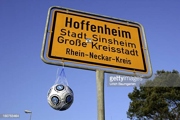GERMANY HOFFENHEIM Placename sign Hoffenheim with a football