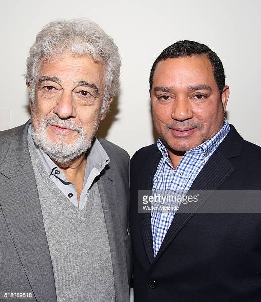 Placido Domingo and Frank Reyes backstage at the opera ÁFigaro at the New Duke 42nd Street on March 30 2016 in New York City
