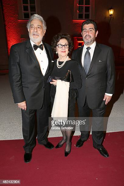 Placido Domingo and his wife Marta Ornelas and his son Alvaro attend the 40 year stage anniversary of Placido Domingo during the Salzburg Festival on...