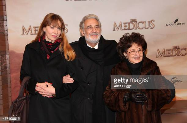 """Placido Domingo and his wife Marta Ornelas and opera singer Marina Prudenskaya attend the """"The Physician"""" German premiere at Zoo Palast on December..."""