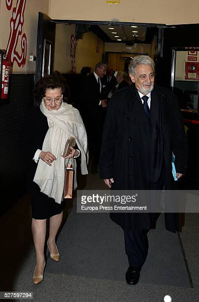 Placido Domingo and his wife Marta Ornelas are seen leaving Zarzuela Theatre after a charity concert on May 01 2016 in Madrid Spain