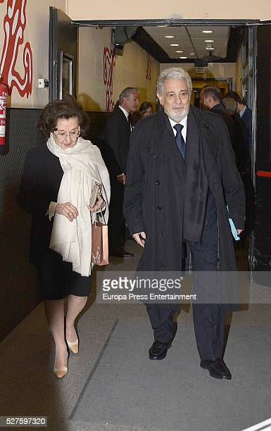 Placido Domingo and his wife Marta Ornelas are seen leaving Zarzuela Theatre after a charity concert on May 01, 2016 in Madrid, Spain.
