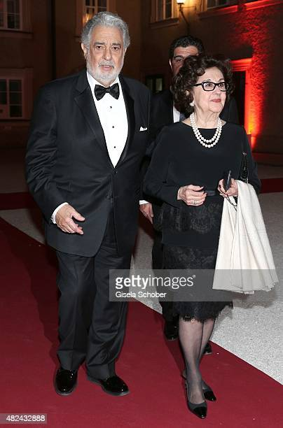 Placido Domingo and his wife Marta Ornelas attend the 40 year stage anniversary of Placido Domingo during the Salzburg Festival on July 30 2015 in...