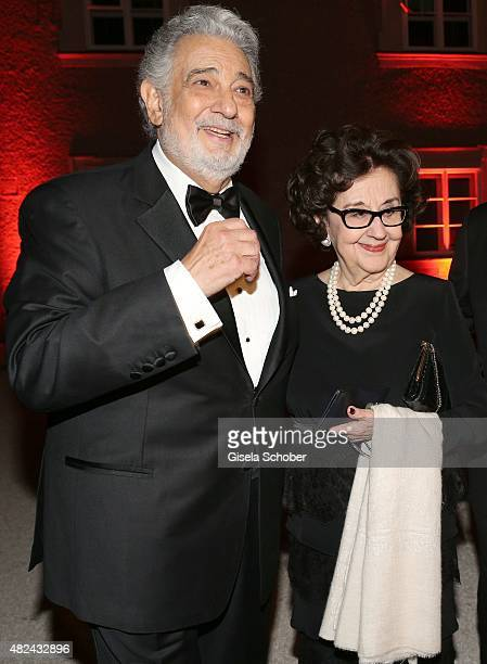 Placido Domingo and his wife Marta Ornelasattend the 40 year stage anniversary of Placido Domingo during the Salzburg Festival on July 30 2015 in...