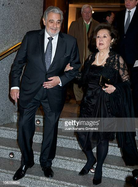 Placido Domingo and his wife Marta Ornellas attend his 70th birthday gala at Teatro Real on January 21 2011 in Madrid Spain