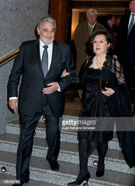Placido Domingo and his wife, Marta Ornellas, attend his 70th birthday gala at Teatro Real on January 21, 2011 in Madrid, Spain.