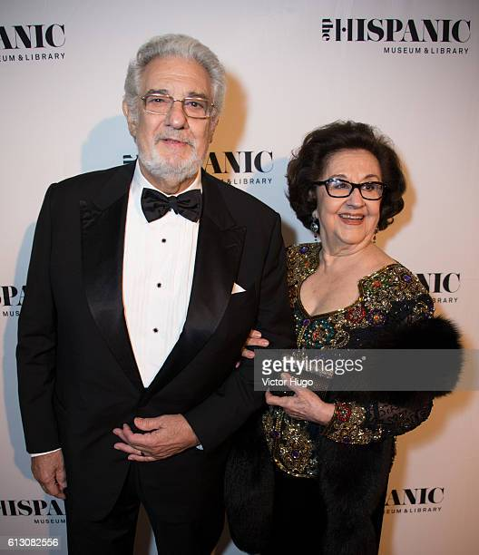 Placido Domingo and Marta Domingo attendThe Hispanic Society Museum and Library 2016 Gala at Metropolitan Club on October 6 2016 in New York City