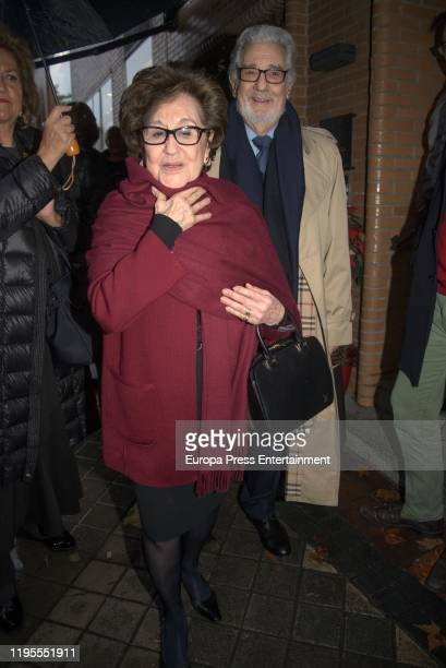 Placido Domingo and Marta Ornelas are seen arriving at 'Quenco de Pepa' for a Christmast lunch on December 20, 2019 in Madrid, Spain.