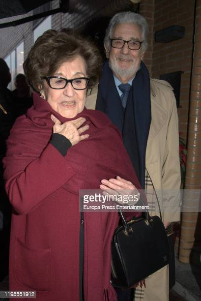 Placido Domingo and Marta Ornelas are seen arriving at 'Quenco de Pepa' for a Christmast lunch on December 20 2019 in Madrid Spain
