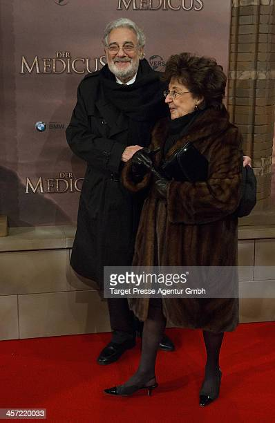 Placido Domingo and Marta Ornelas attend the German premiere of the film 'The Physician' at Zoo Palast on December 16, 2013 in Berlin, Germany.