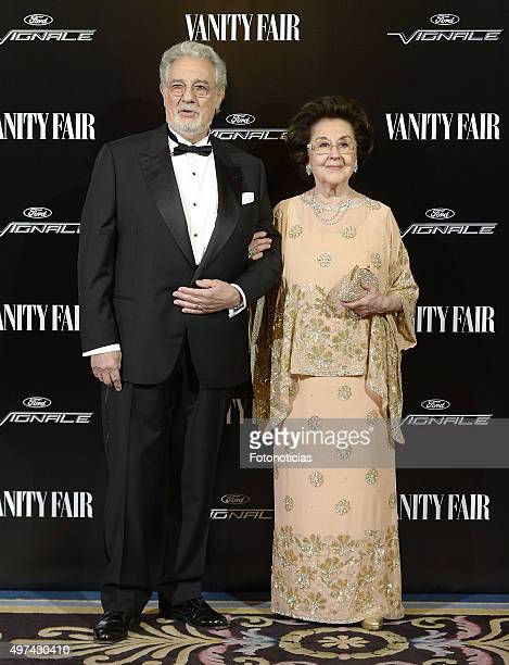 Placido Domingo and Marta Ornelas attend the 'Vanity Fair Personality Of The Year' Gala at The Ritz Hotel on November 16 2015 in Madrid Spain