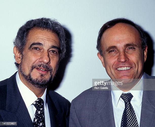 Placido Domingo and Rudolph Guiliani at the Grand Opening of Restaurant Domingo Restaurant Domingo New York City