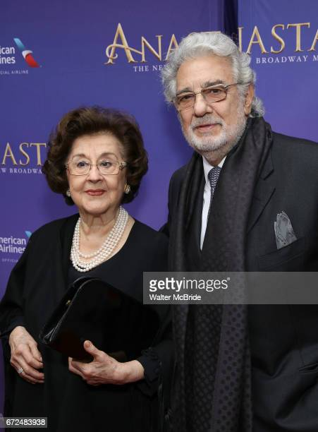 Placido Domingo and wife Marta Domingo attend Broadway Opening Night performance of 'Anastasia' at the Broadhurst Theatre on April 24 2017 in New...