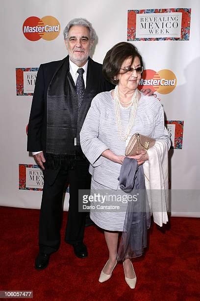 Placido Domingo and wife Marta Ornelas attend the opening night reception of Revealing Mexico Week at Top of the Rock Observation Deck at Rockefeller...