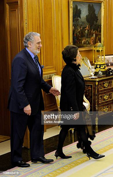 Placido Domingo and wife Marta Ornellas at Zarzuela Palace on January 19 2011 in Madrid Spain