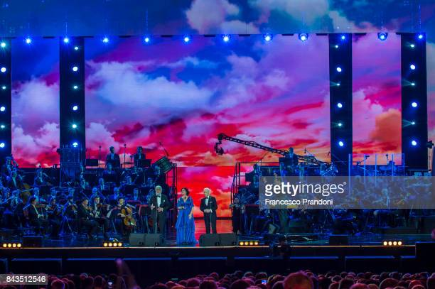 Placido Domingo Angela Gheorghiu and Jose Carreras perform at Luciano Pavarotti 10th Anniversary Concert in Arena di Verona on September 6 2017 in...