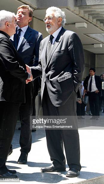 Placido Domingo attends the funeral of president of Real Madrid Florentino Perez's wife Pitina Sandoval at La Almudena crematorium on May 23 2012 in...