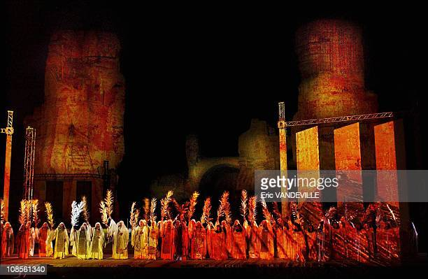 Placido Domingo conducts Verdi's opera 'Aida' at Rome's Thermae of Caracalla in Rome Italy on July 24th 2005