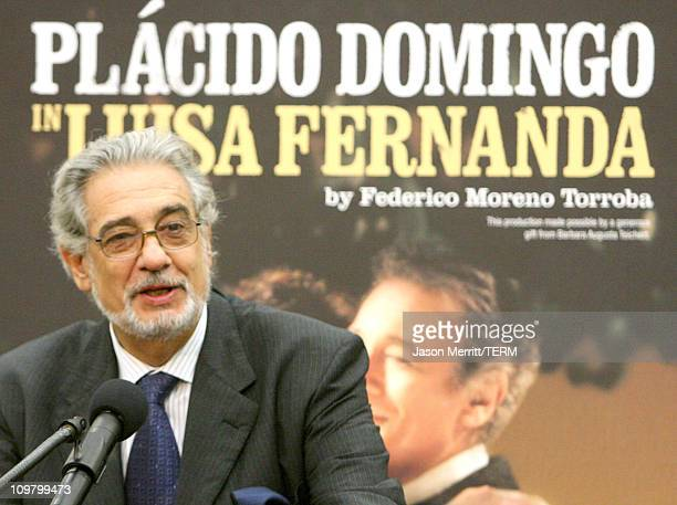 Placido Domingo during Placido Domingo Introduces Artists for LA Opera's Company Premiere of 'Luisa Fernanda' at Los Angeles Opera in Los Angeles...