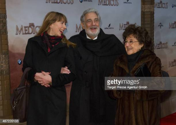 Placido Domingo, his wife Marta Ornelas and opera singer Marina Prudenskaya attend the German premiere of the film 'The Physician' at Zoo Palast on...