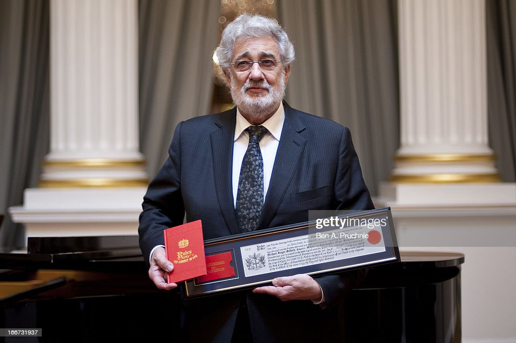 Placido Domingo is awarded the Freedom of the City of London at Mansion House on April 16, 2013 in London, England.