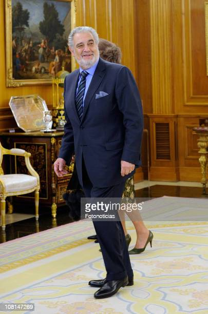 Placido Domingo is received by Spanish Royals at Zarzuela Palace on January 19 2011 in Madrid Spain
