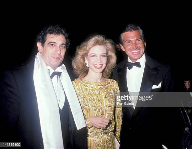 Placido Domingo Lynn Hyatt and George Hamilton at the Party for the Royal Family of Monaco State Department Building New York City