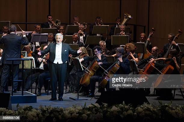 Placido Domingo performs during the Opening Night of Dubai Opera on August 31 2016 in Dubai United Arab Emirates