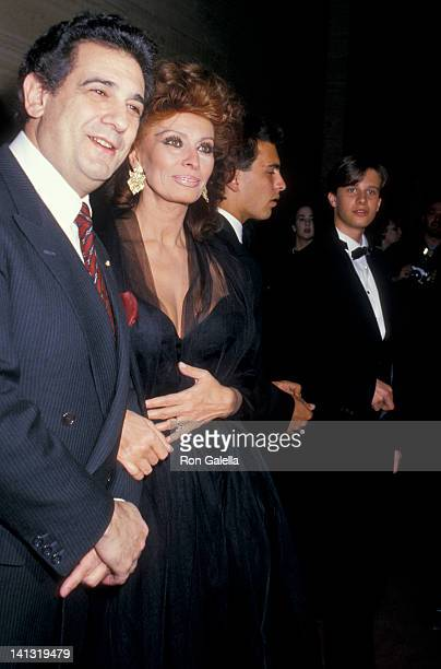 Placido Domingo Sophia Loren Carlo Ponti Jr and Edoardo Ponti at the Premiere of 'The Fortunate Pilgrim' Lincoln Center New York City