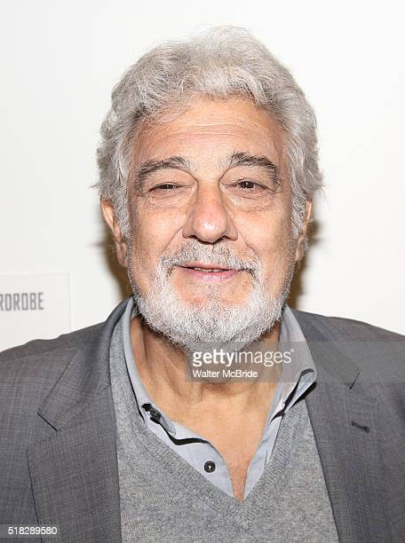 Placido Domingo visits his former student Jose Adan Perez the star of the opera ÁFigaro and cast at the New Duke 42nd Street on March 30 2016 in New...