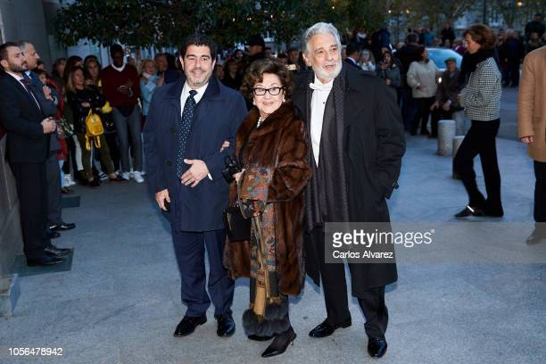 Placido Domingo wife Mara Tomingo and Alvaro Maurizio Domingo attend a concert to celebrate Queen Sofia's 80th birthday at the Superior School of...