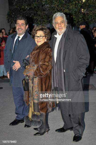 Placido Domingo wife Marta Domingo and Alvaro Maurizio Domingo arrive to attend a concert to celebrate Queen Sofia's 80th birthday at Escuela...