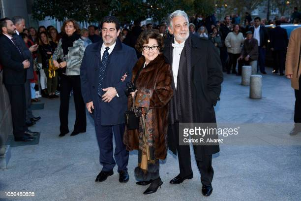 Placido Domingo wife Marta Domingo and Alvaro Maurizio Domingo attend a concert to celebrate Queen Sofia's 80th birthday at the Superior School of...