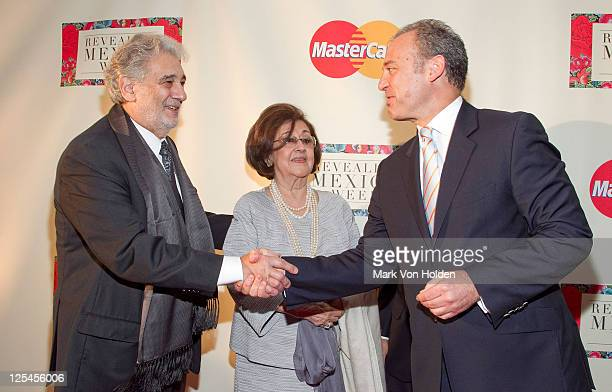 Placido Domingo wife Marta Ornelas and Mexican ambassador Arturo Sarukhan attend the Revealing Mexico Week opening night reception at the Top of the...